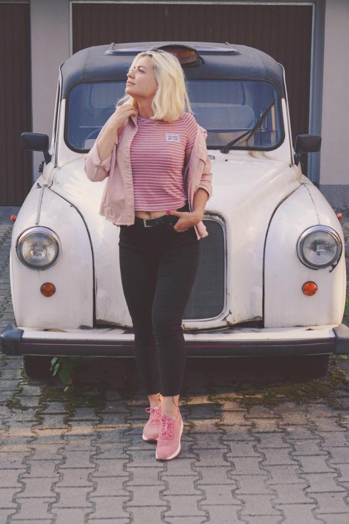 stylizacja rożowy czarny trampki adidasy rylko outfit ootd lato summer